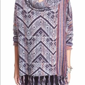 Free People Be The One Fringe Poncho Size Large